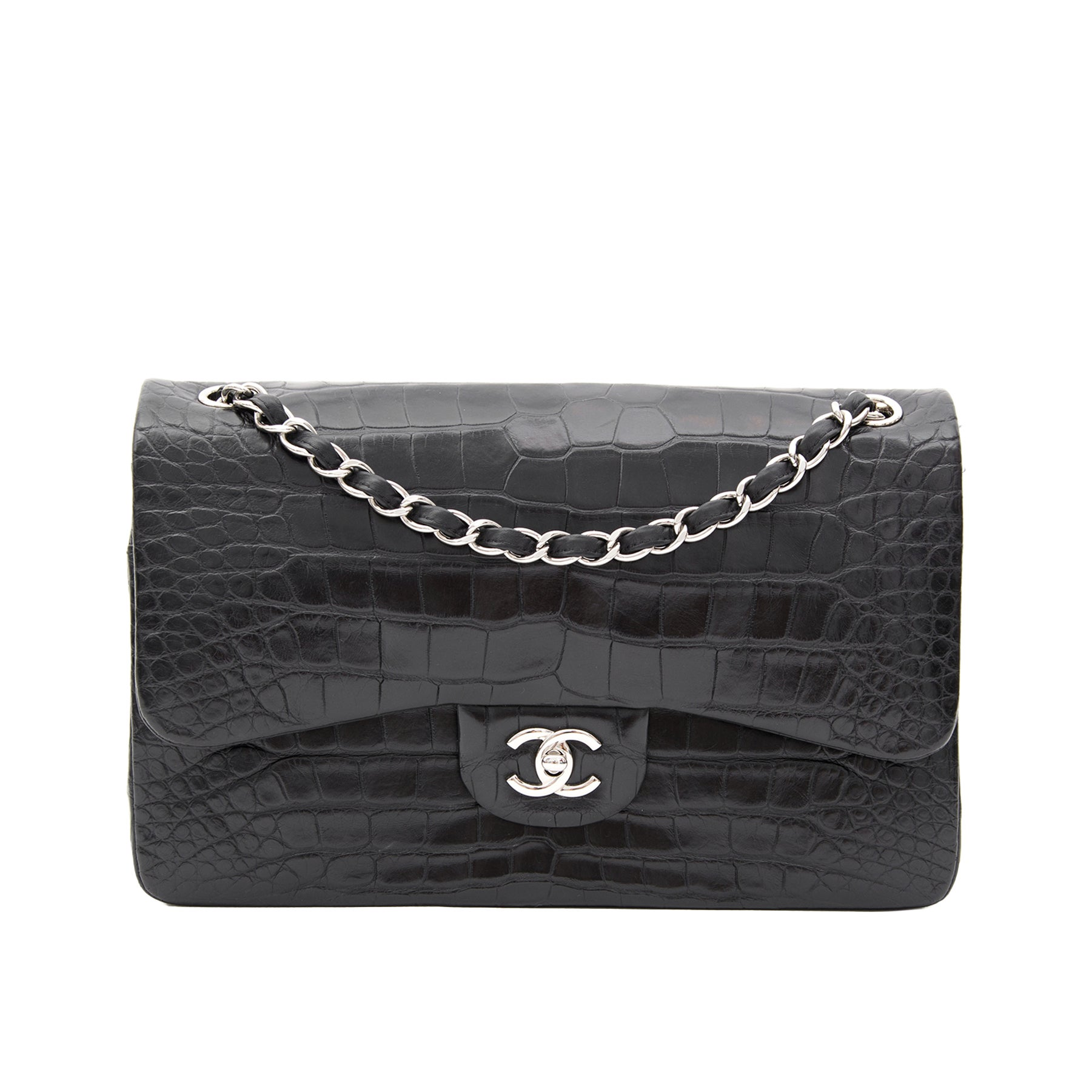 1a738875d9c0 Rare Chanel Alligator Jumbo Double Flap Black For Sale at 1stdibs