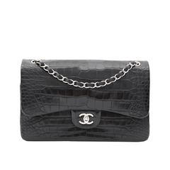 Rare Chanel Alligator Jumbo Double Flap Black