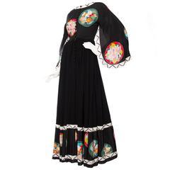 Incredible 1970s Chloé by Karl Lagerfeld Black Silk Gown