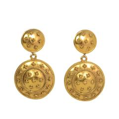Chanel Vintage '70s Gold Dangling Clip On Earrings