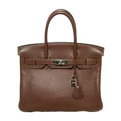Hermes Brown Cacao Clemence Leather 30cm Birkin Bag