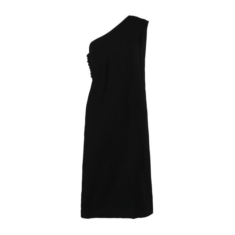 1960s Bill Blass for Maurice Rentner Vintage One-Shoulder Black Cocktail Dress