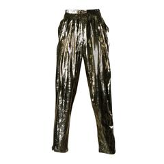 1980s Vintage Silk Lined Metallic Gold Tinsel Pants or Trousers