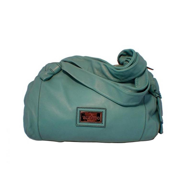 Valentino Teal Lambskin Shoulder Tote Handbag
