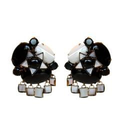 Iradj Moini Mother of Pearl and Black Onyx Clip Earrings