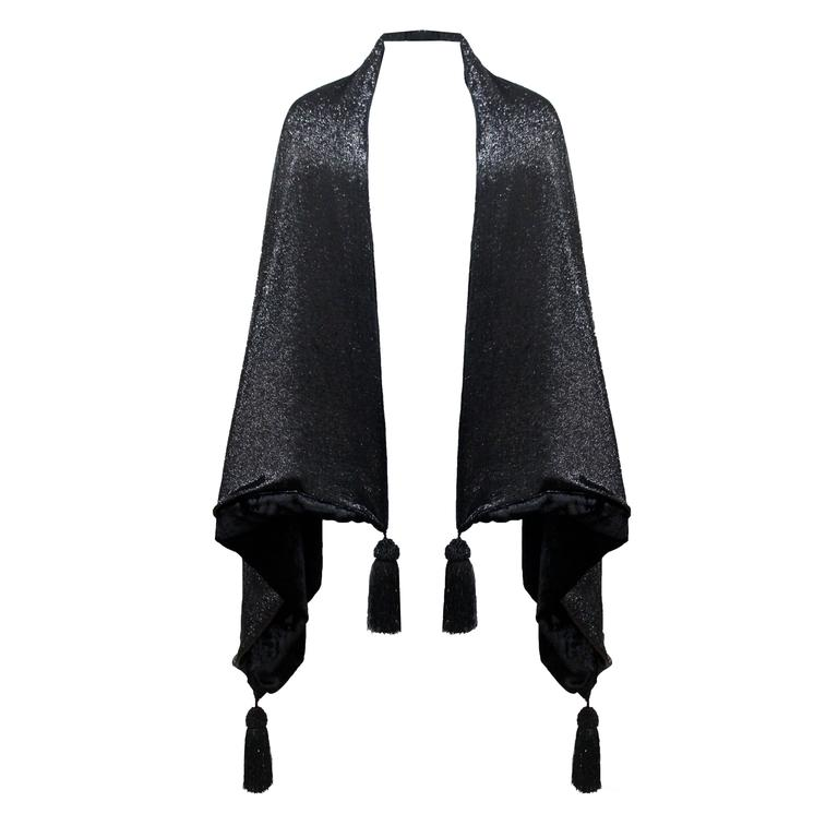 1990s Gianfranco Ferre black velvet and lurex evening large shawl with tassels 1