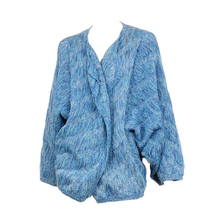 Issey Miyake Blue Textured Cardigan  1