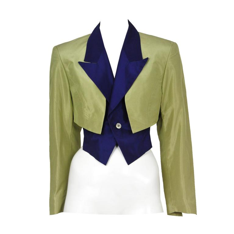 Comme Des Garcons Green and Blue Bolero Jacket