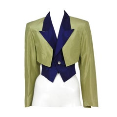 Comme Des Garcons Green and Blue Bolero Jacket