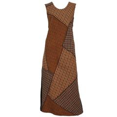 Comme Des Garcons Brown Plaid Dress