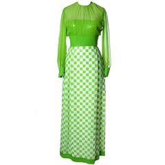 1960's Adele Simpson Silk Deadstock Vintage Green Dress w Sequins New w Tags