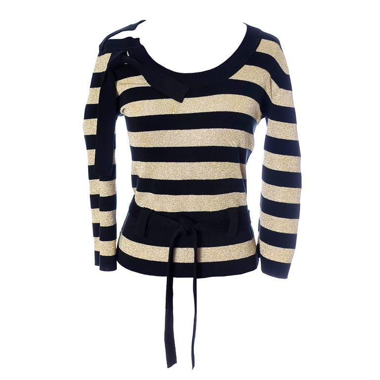 Sonia Rykiel Vintage Sweater Top Gold Sparkle Stripes Made in Italy