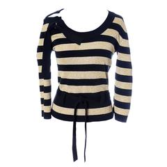 46721d41ee Sonia Rykiel Vintage Sweater Top Gold Sparkle Stripes Made in Italy