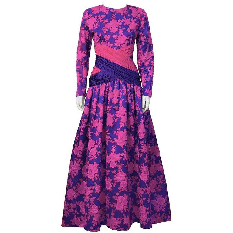 1980\'s Peter Keppler Pink and Purple Floral Print Ball Gown For Sale ...