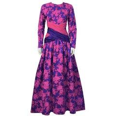 1980's Peter Keppler Pink & Purple Floral Print Ball Gown
