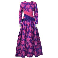 1980's Peter Keppler Pink & Purple Floral Print Ball Gown