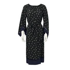 1970's Black Chloe Silk Paisley Print Boho Dress