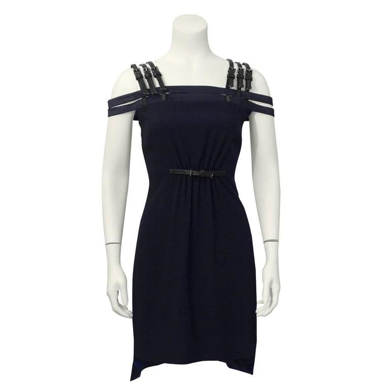1990's Versus by Versace Navy Cage Dress with Black Leather Accents  1