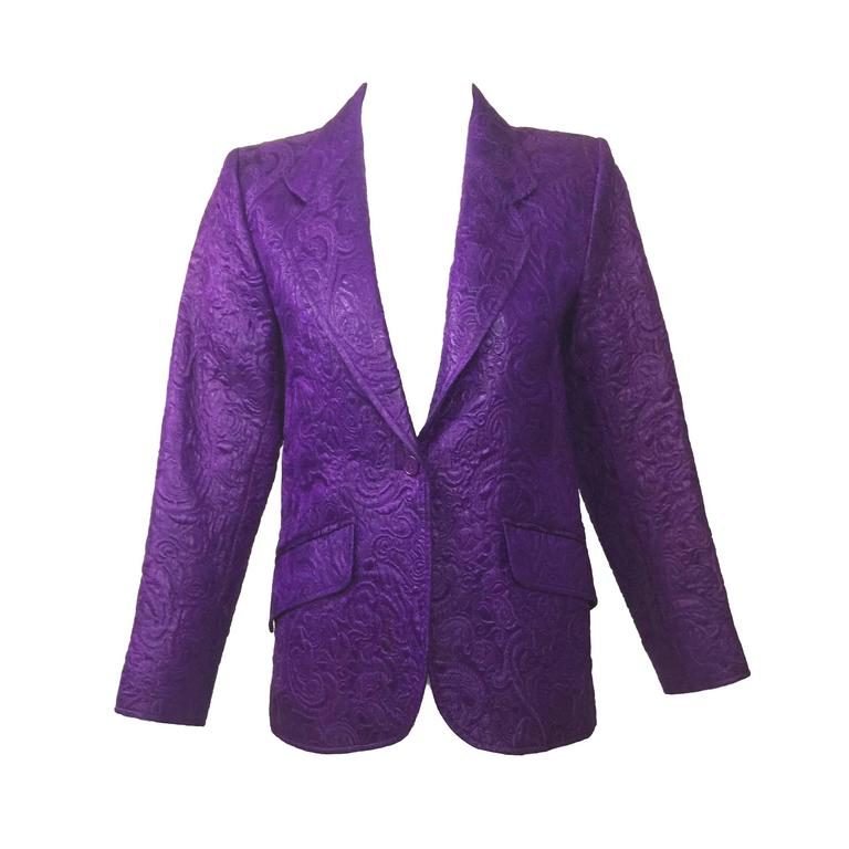 Vintage Saint Laurent Royal Purple  Matelassé Jacket