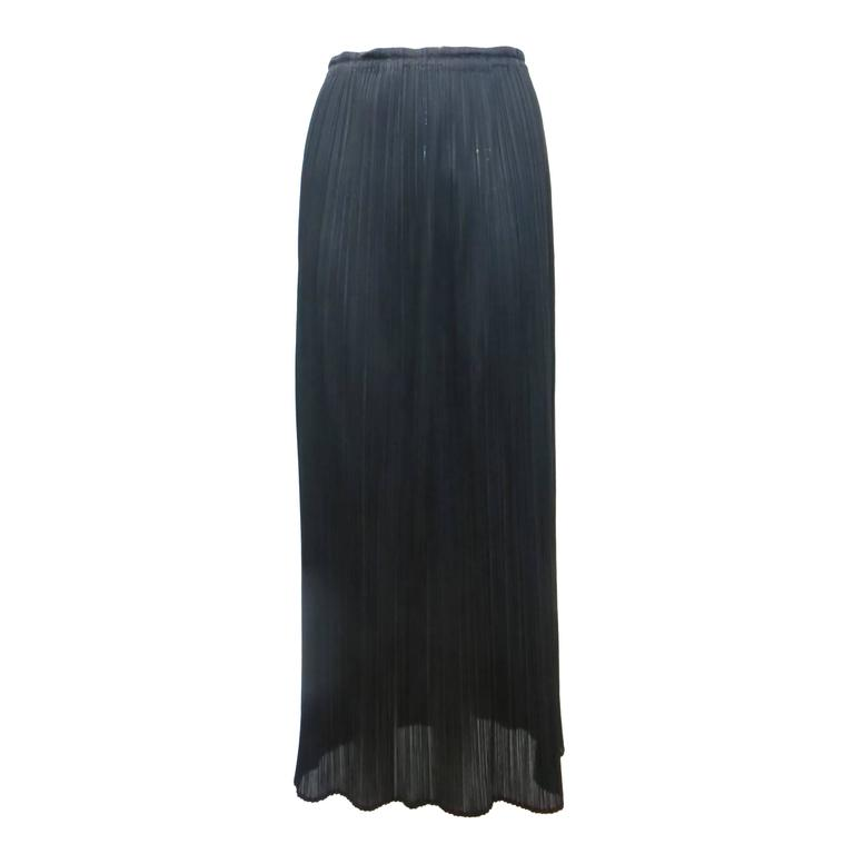 pleats by issey miyake black maxi skirt at 1stdibs