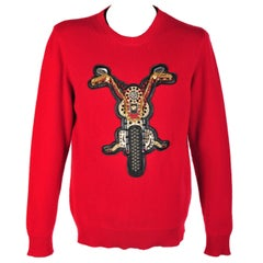 New VERSACE RED JEWEL EMBELLISHED 100% CASHMERE CREWNECK SWEATER