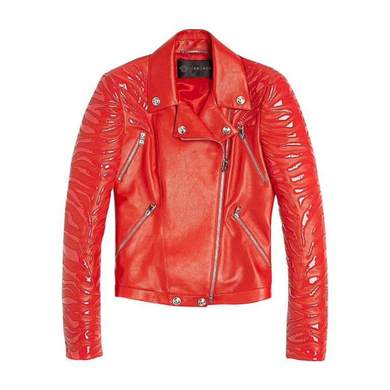 New VERSACE Red Leather Moto Jacket With Vinyl Animal Stripes