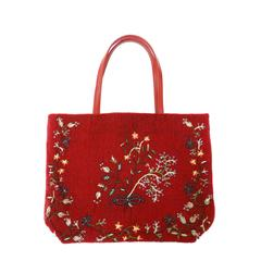 1999 Valentino Red Beaded Tote Bag