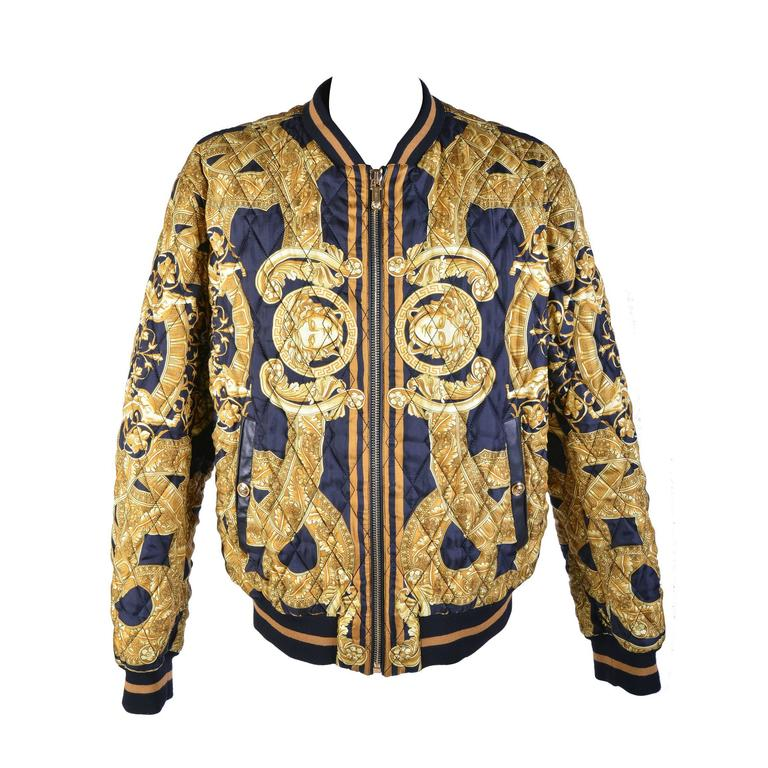 35th Anniversary Versace Quilted Silk Bomber Jacket At 1stdibs