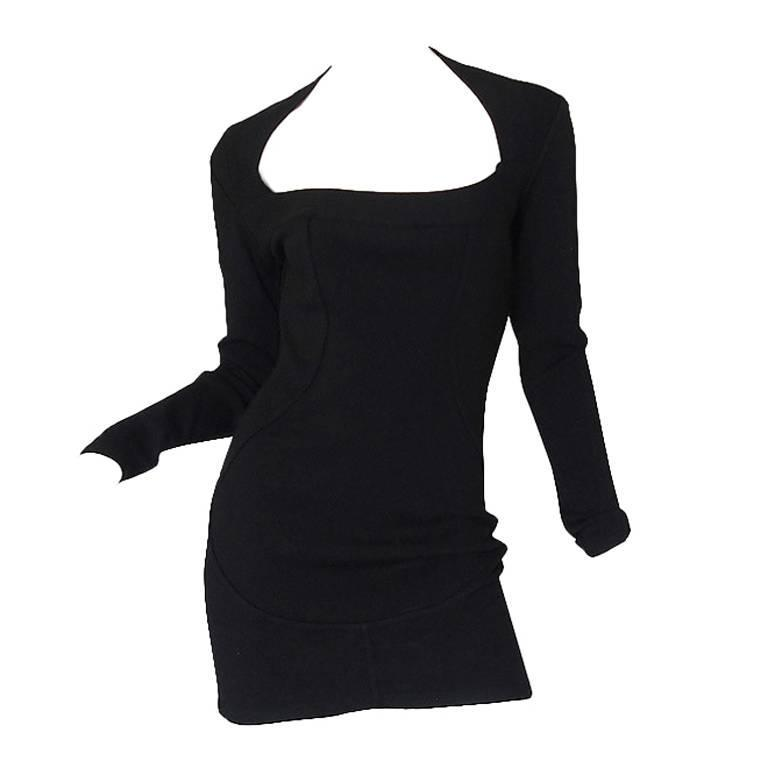 Fall 1990 Azzedine Alaia Low Scooped Fitted Knit Dress 1