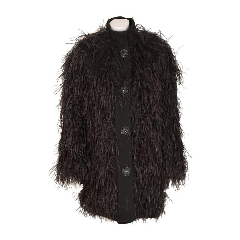 Exceptional Chanel Hand Embroidered Ostrich Feather Jacket ...