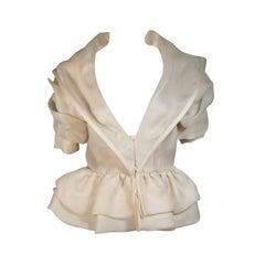 PAUL LOUIS ORRIER Paris Ruffled Ivory Cream Jacket with Structured Hem Size 40
