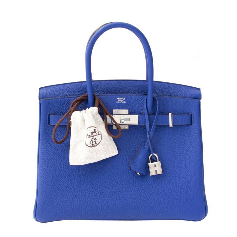 f95ac01df692 Brand New Hermes Birkin 30 Togo Bleu Electrique. LabelLOV at 1stdibs