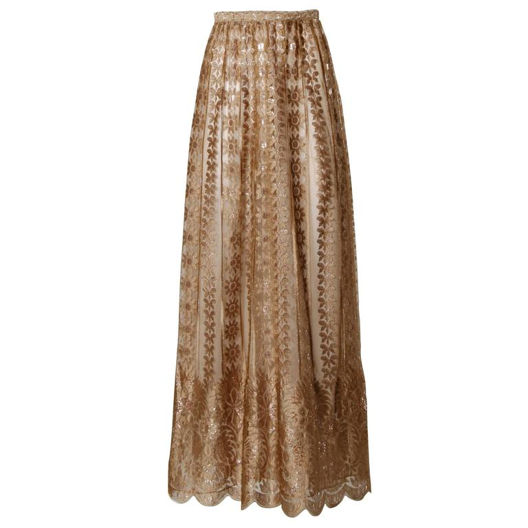 Jill Richards Vintage Scalloped Metallic Copper + Taupe Lace Maxi Skirt For Sale