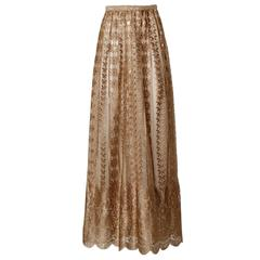 Jill Richards Vintage Scalloped Metallic Copper + Taupe Lace Maxi Skirt