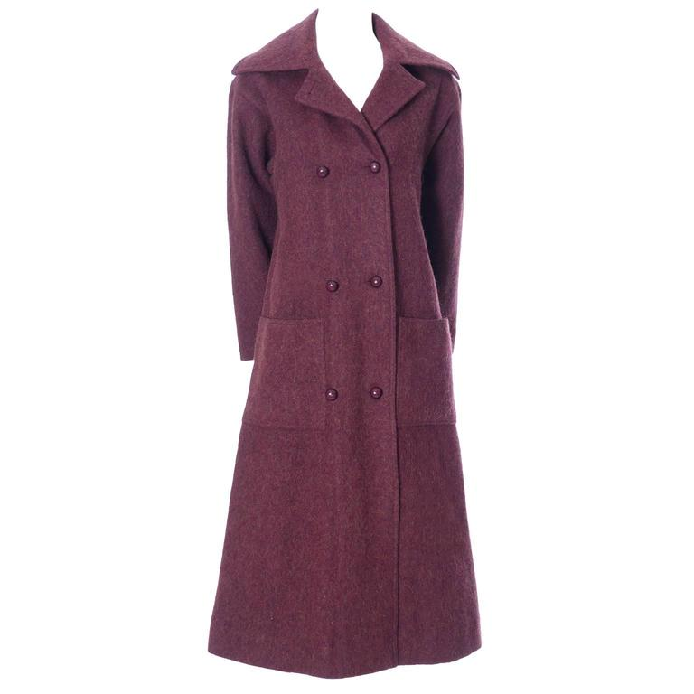 Givenchy Nouvelle Boutique 1970s Vintage Givenchy Coat Burgundy Alpaca Wool