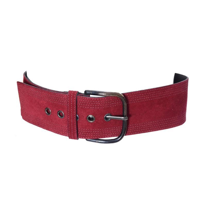 Vintage YSL belt Yves Saint Laurent Burgundy Suede Size Medium  1