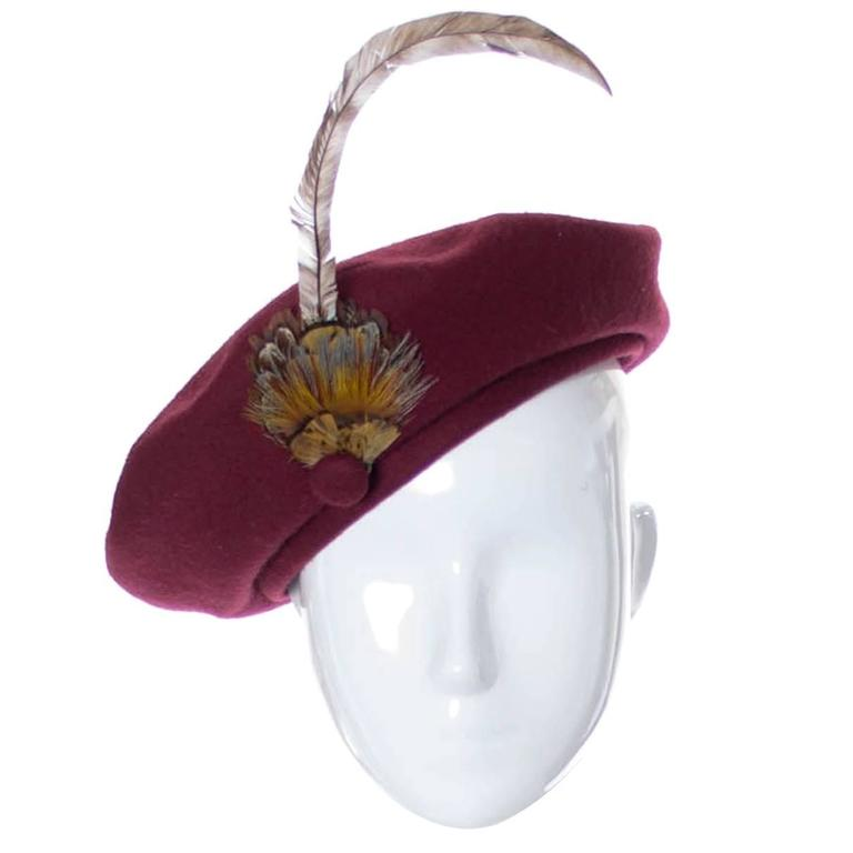 Adolfo II Vintage Hat Burgundy Wool Beret Feathers For Sale