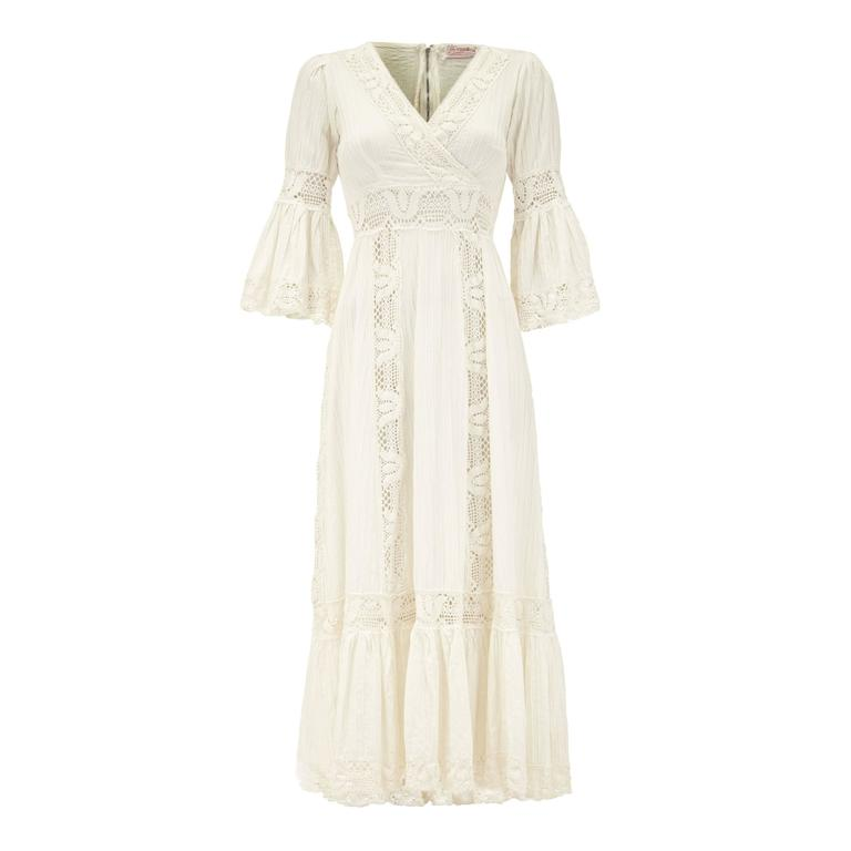 1970s White Cotton Vintage Mexican Wedding Dress For Sale