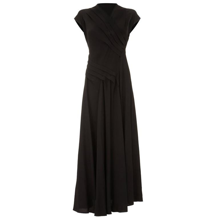 ac24b26f68a 1940s Long Pleated Black Crepe Dress For Sale at 1stdibs