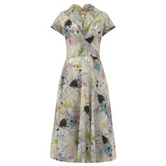 1950s Grey Textured and Printed Vintage Dress