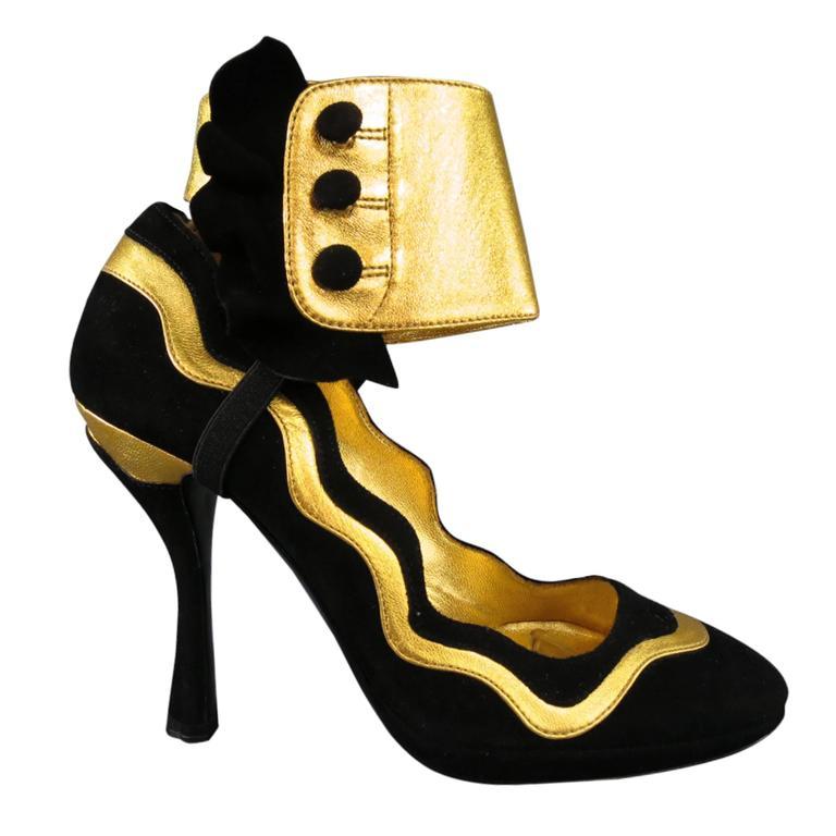 Prada Black and Gold Suede Ankle Ruffle Cuff Metallic Pumps S / S 2008
