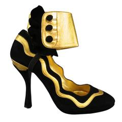 Prada Black and Gold Suede Ankle Ruffle Cuff Metallic Pumps S / S 2008