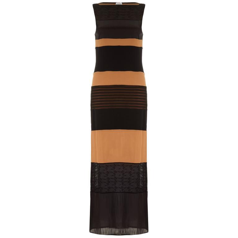 1990s Vintage Ozbek Striped Black & Nude Maxi Dress