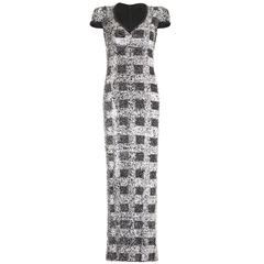 1970s Vintage Andre Laug Monochrome Sequin Dress