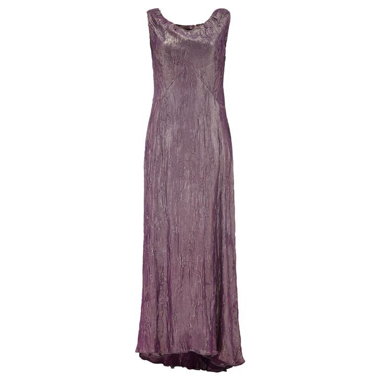 1930s Vintage Purple Lame Full Length Dress