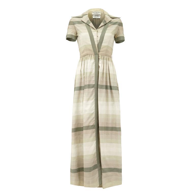 1960s Oscar de la Renta Grey Silk Shirt-Waister Dress For Sale
