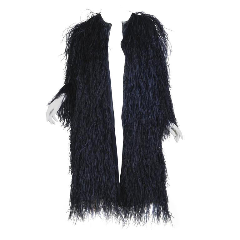 Midnight Blue Ostrich Feather Chiffon Jacket