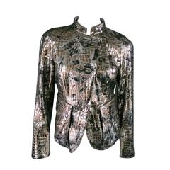 GIORGIO ARMANI Size 6 Silver floaral Crocodile Textured Metallic Leather Jacket