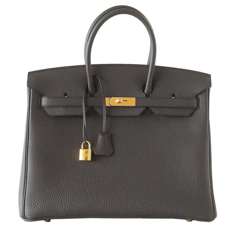 Hermes Birkin 35 Bag Rare Plomb Off Black Togo Coveted Gold Hardware