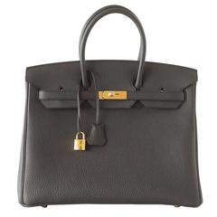 Hermes Birkin 35 Bag Rare Plomb Off Black Togo Coveted Gold Hardware
